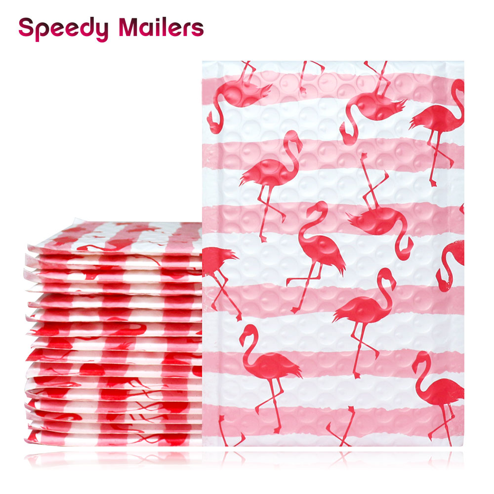 Speedy Mailers 10PCS 4x7inch 120x180mm Creative Pink Flamingo Design Poly Bubble Mailers Shipping Envelopes Boutique Custom Bags
