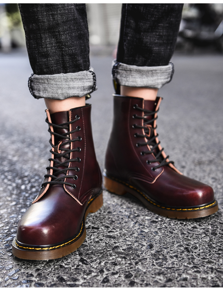 2020 autumn new couple models Martin boots high-top large size increased leather all-match black British style Martin shoes