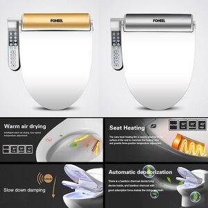 Image 3 - FOHEEL New Intelligent Toilet Seat Gold Silver Side Panel Control Electric Bidet Smart Bidet Heating Dry Massage for Wc