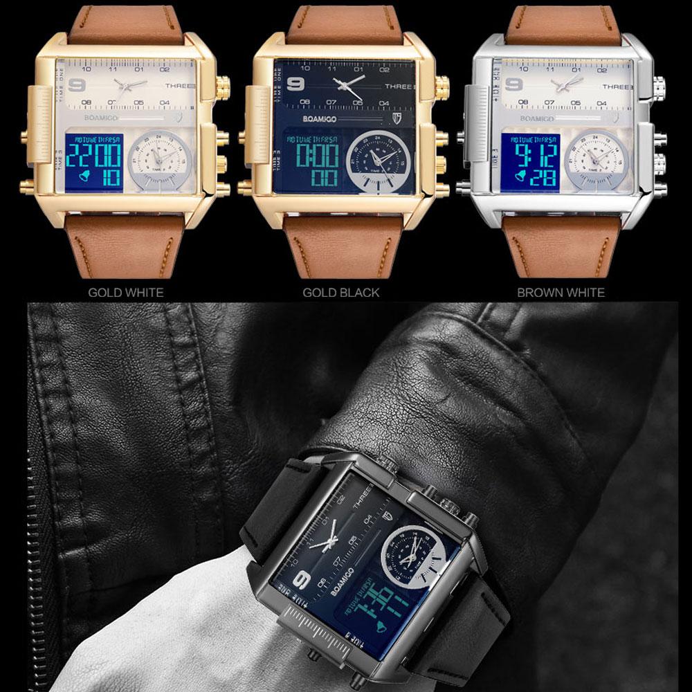 BOAMIGO brand men sports watches 3 time zone big man fashion military LED watch leather quartz wristwatches relogio masculino 5