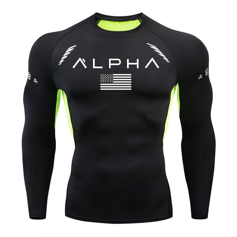 2020 Gym t shirt men Quick-Dry Slim Sport running t-shirt MMA 3D printing Compression shirts Men Fitness Long sleeves rashguard