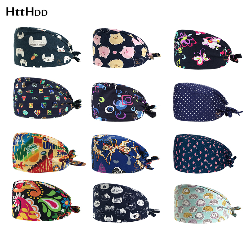 New Medical Cotton Dentist Hat/caps Surgical Cap Print Pet Hospital Hat Scrubs Medical Caps Women Beauty Salon Nursing Work Hats