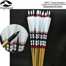 12pcs High Quality  Handmade Turkey Feather Archery Arrows Natural Wooden for Bow 25-50lbs Longbow Recurve Hunting