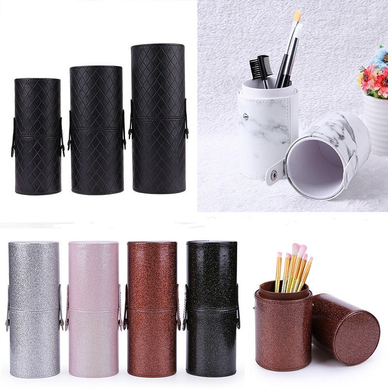 PU Leather Makeup Storage Holder Cosmetic Cup Case Box For Makeup Brush Pen