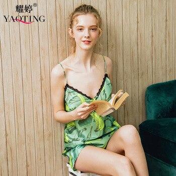 YAO TING emulación seda primavera y verano nuevo camisón cómodo пижама sexy пижама