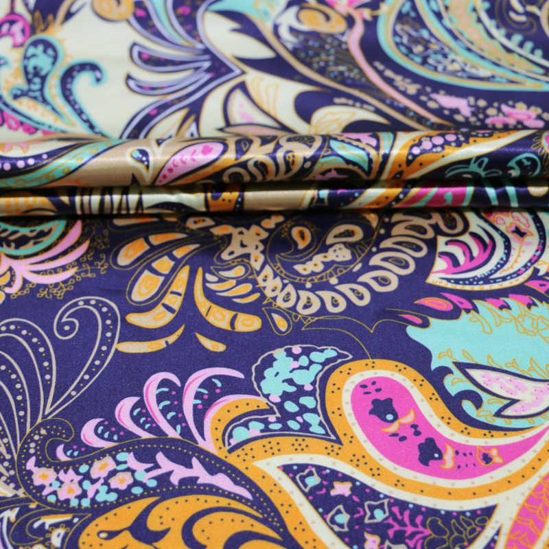 الجملة لينة ساتان مرن قماش خياطة الزهور خمر تقليد مادة الحرير مطاطا قماش ساتان متمدد طباعة