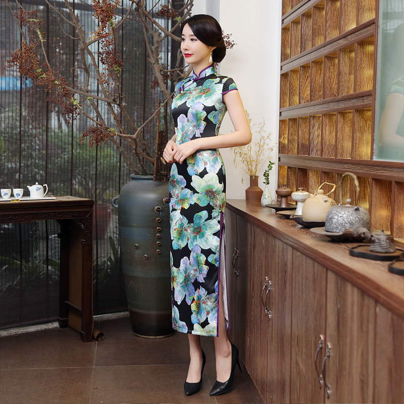 Ladies Elegant Silk Cheongsam Dresses Long Printing Green Flowers Satin Design Qipao Chinese Costume Shanghai Evening Wholesale