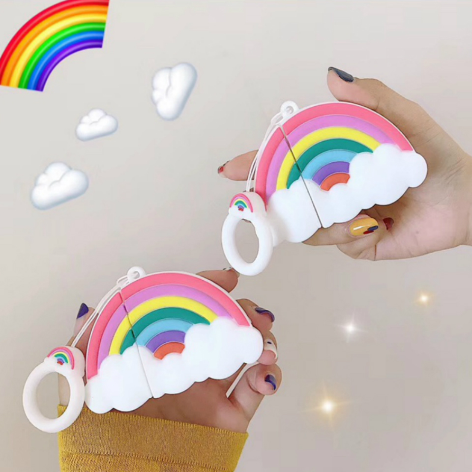 For Apple Airpods Case 3D Rainbow Earphone Cover For Airpods Headphone Case Luxury Silicone Earbuds Cases Ring Strap Coque Cover