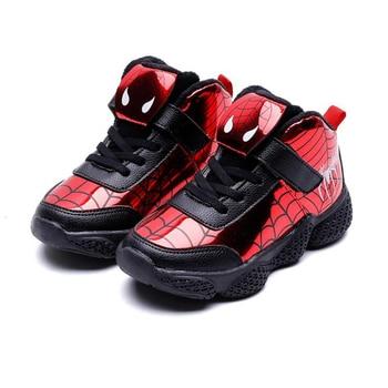 Zapatillas de deporte para niños, nuevas zapatillas de invierno para chico plus, zapatillas de terciopelo para Hombre Araña, zapatillas de baloncesto para niños, zapatillas deportivas de algodón informales de spiderman