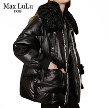 Coats Down-Jacket Max-Lulu Womens Parkas Duck Real-Fur-Collar Plus-Size Winter Ladies