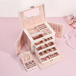 Casegrace, nueva caja grande de joyería, caja de reloj, pendiente de cuentas, anillo de joyería, armario, caja de almacenamiento, organizador de baratija de cuero blanco y negro