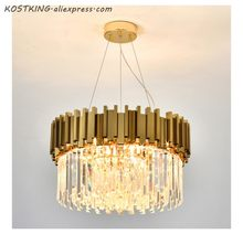 Lustre de cristal moderno para sala estar jantar lustre de cristal ouro luzes led iluminação led lustre luxo