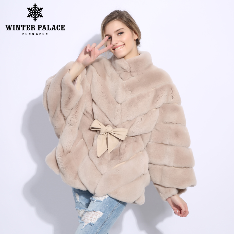 2018 Winter Fur Coat Cape Fashion New Rabblt Fur Coat Casual Rex Rabblt Fur Coat Solid Real Rex Rabblt Fur Coat O-Neck