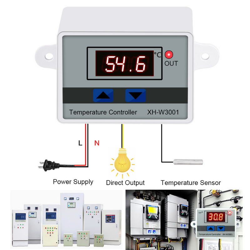 10A 12/24/110/220V AC Microcomputer LED Temperature Control XH-W3001 For Incubator Cooling Heating Switch Thermostat With Probe