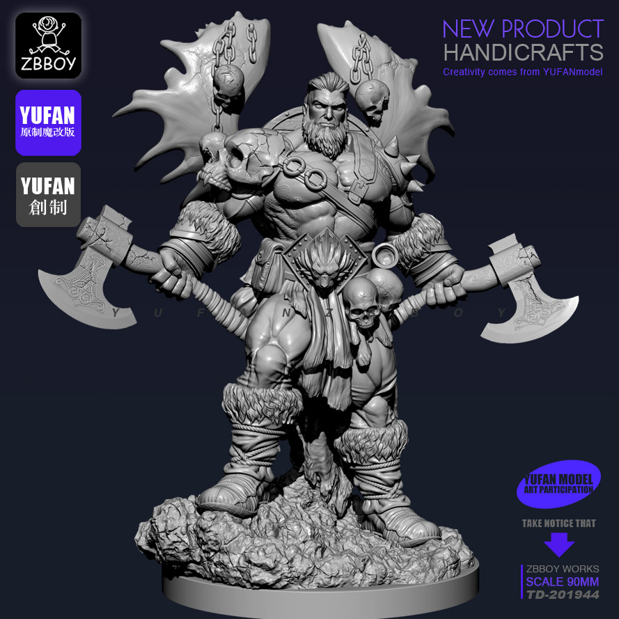 1/18 90MM Resin Kits Double Axe Warrior Resin Soldier Self-assembled TD-201944