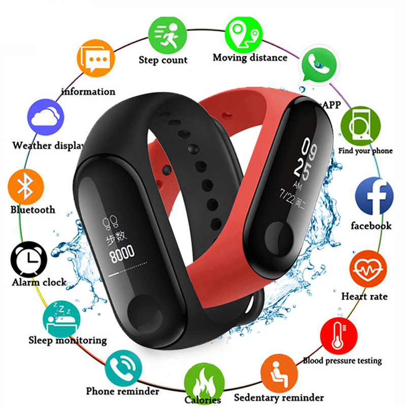 2020 Smart Bracelet Blood Pressure Measurement Waterproof Fitness Tracker Watch Heart Rate Sport Health Smart Band For Women Men
