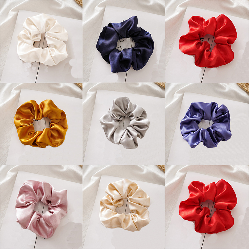 2019 New Glossy Satin Scrunchie Solid Color Elastic Hair Ties For Girls Women Ponytail Holder Hair Rubber Bands Hair Accessories