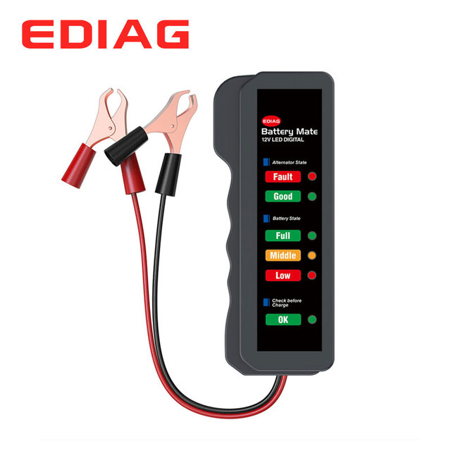 EDIAG Tester baterii BM310 12V miedziany kabel samochodowy cyfrowy 6 LED Light Alternator Auto analizator mocy