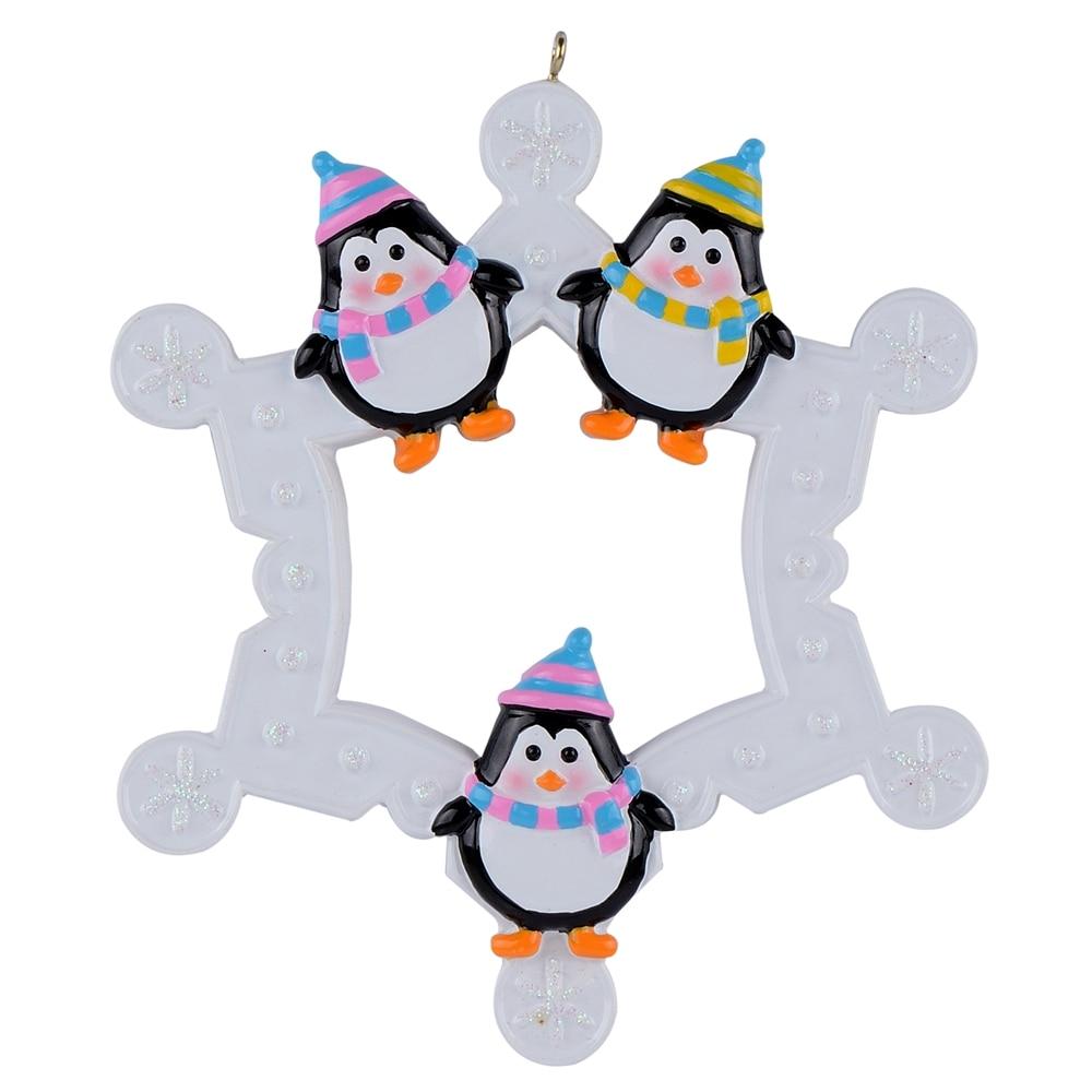 Floco de neve Pinguins Família de 3 glossy personalizado enfeites de árvore de Natal do polyresin