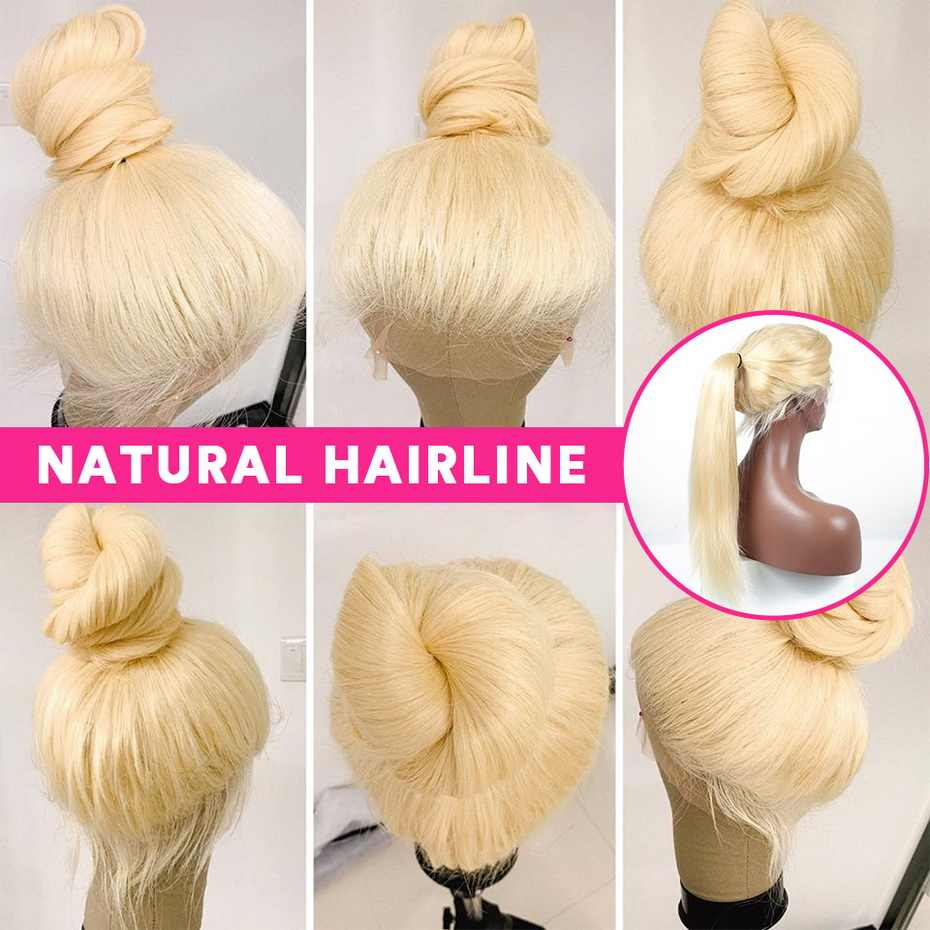 13x6 613 Lace Front Wig Human Hair Straight Wigs For Women Remy 150% Density Transparent Brazilian Honey Blonde Preplucked Wigs