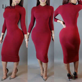 Liooil 2020 Spring Dress Turtleneck Long Sleeve Black Wine Red Midi Bodycon Dresses Fashion Winter Plus Size Clothing For Women 1
