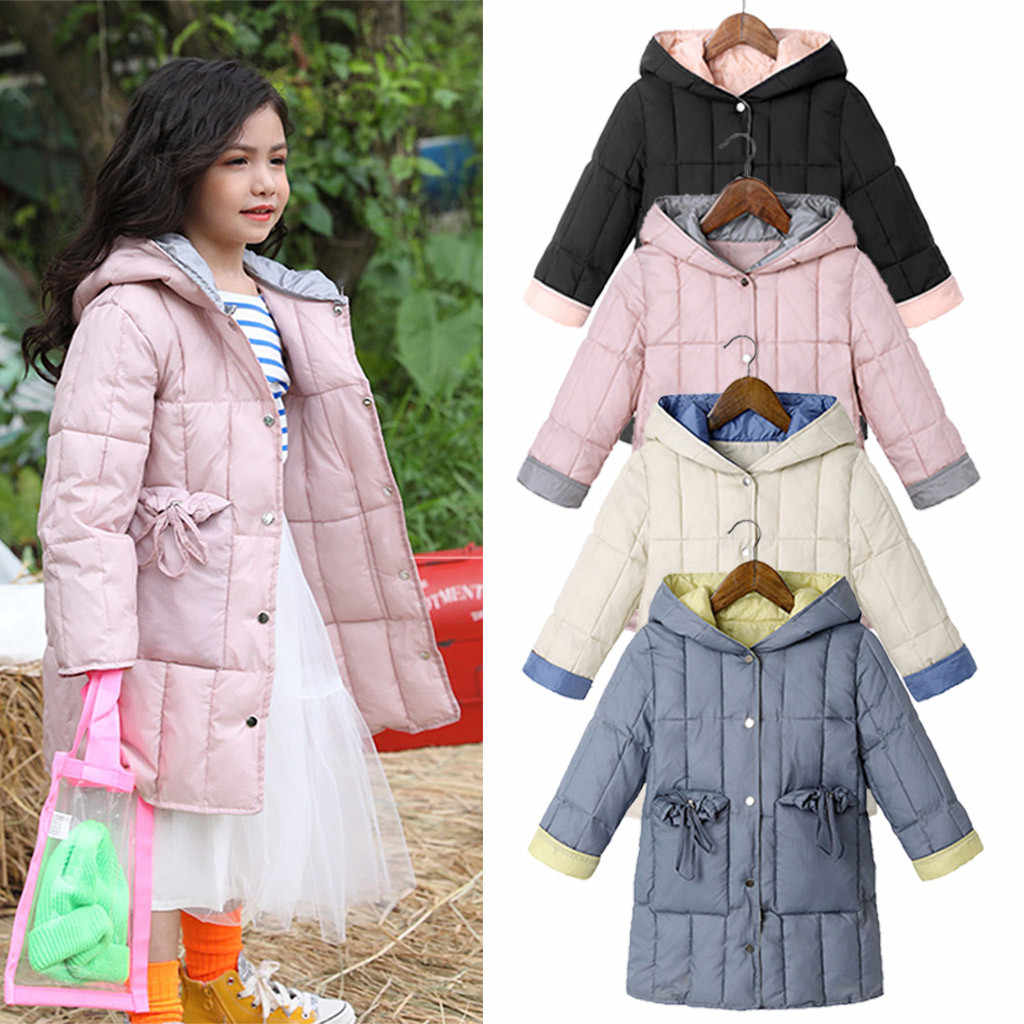 Children's baby winter clothes girl winter coat clothes Solid Button Warm Girls Hooded Jackets Outerwear Coats winterjas meisje