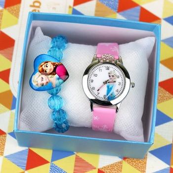 New Kids Watches With Bracelet Leather Cartoon Princess Childern Watch Girls Party Clock Wrist Reloj Infantil Feminino No Box