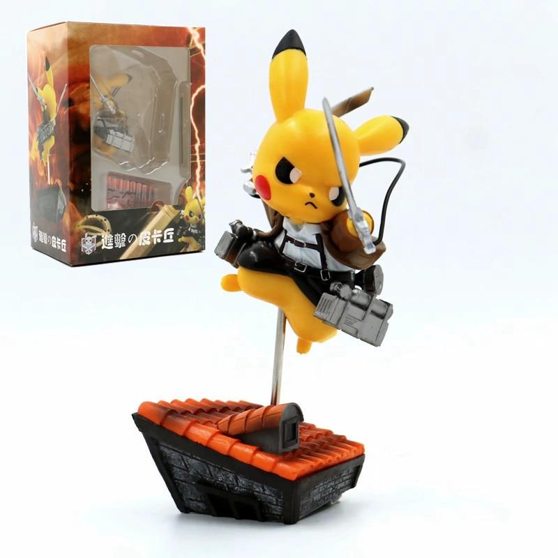 Pokemon Attack On Titan Anime Figure Pikachu Cosplay Eren Jaeger Figurine Action Figma Model Statue Toys Dolls Xmas Collection