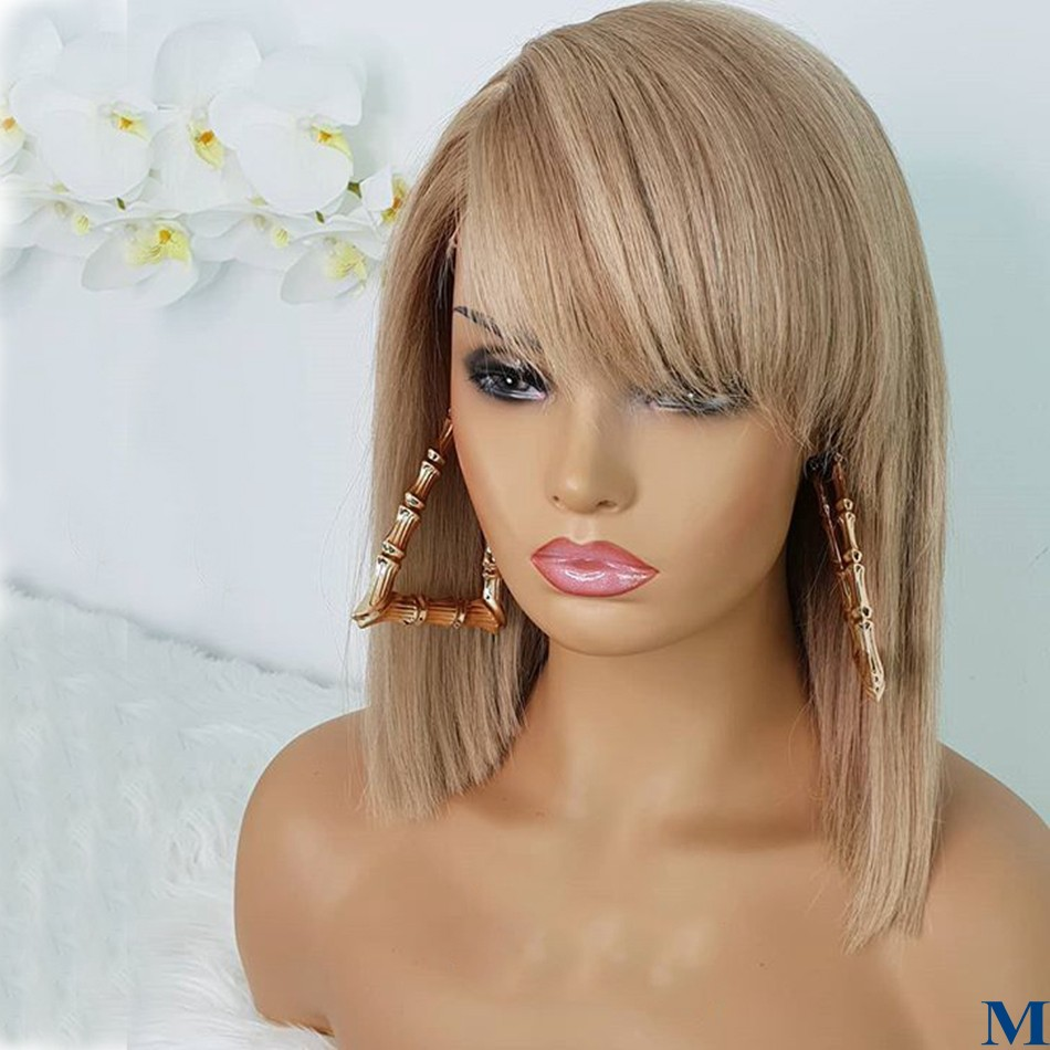 Platinum Blonde Highlight Silky Straight Glueless Full Lace Bob Human Hair Wigs 150Density 13x6 Lace Front Wigs With Side Bangs