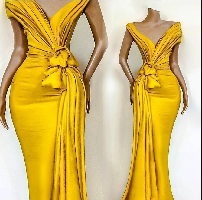 Elegant Yellow Off Shoulder Satin Mermaid Evening Dresses Ruched Ruffles Sweep Train Formal Party Prom Dresses Robes De Soirée