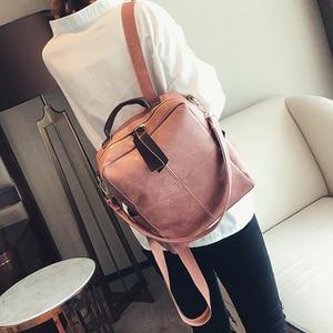 Image 3 - Женский кожаный рюкзак на молнии в стиле ретро, модная школьная сумка, рюкзаки для девочек подростков, многофункциональный рюкзак, сумка на плечо