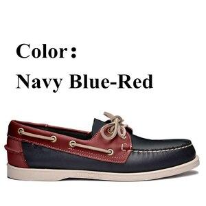 Image 4 - أحذية قيادة جلد طبيعي للرجال ، أحذية قيادة أنيقة جديدة على شكل قارب كلاسيكي ، تصميم العلامة التجارية بدون كعب للرجال والنساء 2019A010