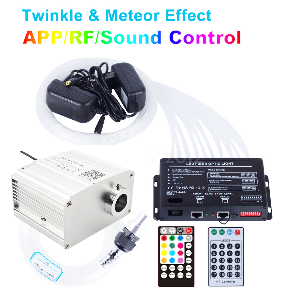 Music Control LED Fiber Optic Lights Bluetooth APP TWINKLE 10W Ceiling Lights Kit Shooting Engine Meteor Effect Christmas Lights