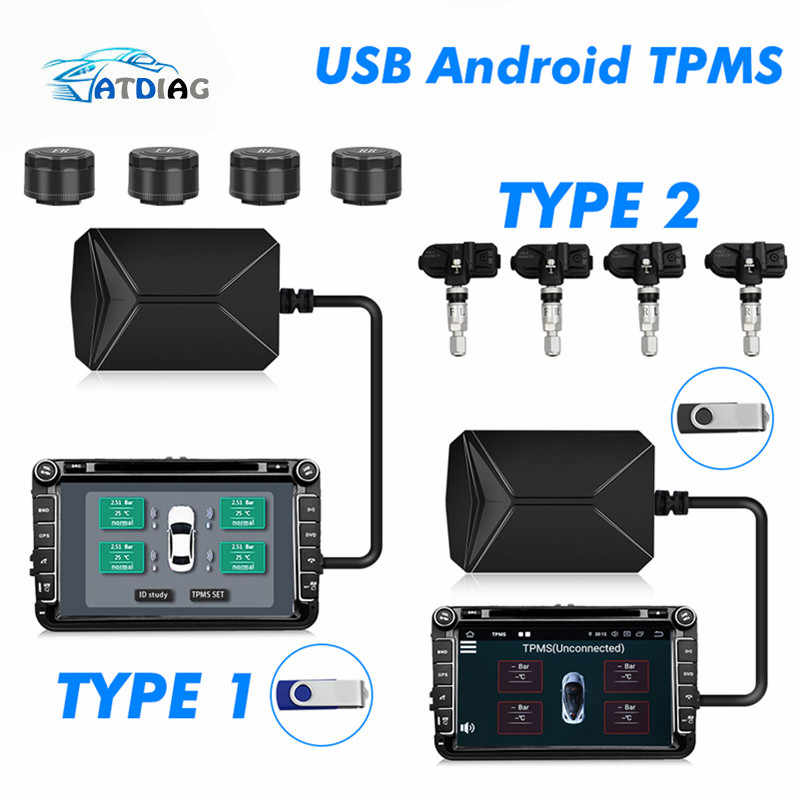 4 Internal/External Sensors USB Android TPMS Car Tire Pressure Monitoring System Display Navigation Tyre Pressure Alarm 0-116Psi