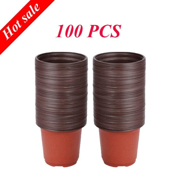 100pcs 10*7*9CM Plastic Grow Box Fall Resistant Seedling Tray For Home Garden Plant Pot Nursery Transplant Flower Seedling Pots