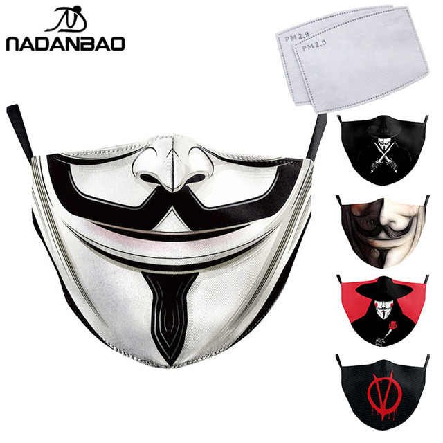 NADANBAO V For Vendetta Print Masks Adult Kids Face Fabric Mask Washable Reusable Mask Fashion Outdoor