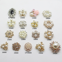 New Hot Prices Mix Size Buttons 5Pcs/Lot man made Pearl Alloy Buttons DIY Handwork Sewing Decoration Metal Accessories