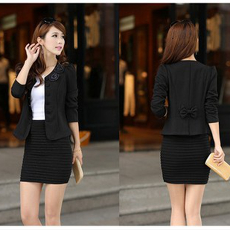 New Fashion Flower Women Suit Jacket Spring Ladies Long Sleeve Black Pink Blaser Female Plus Size Blazer Femme