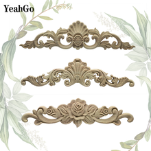 YeahGo European style wood furniture background wall decoration wood carving decals home decoration wood applique accessories