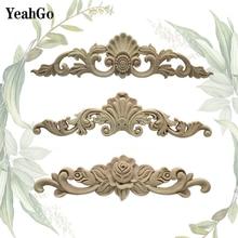 YeahGo אירופאי סגנון עץ ריהוט רקע קיר קישוט עץ גילוף מדבקות עיצוב הבית עץ applique אבזרים
