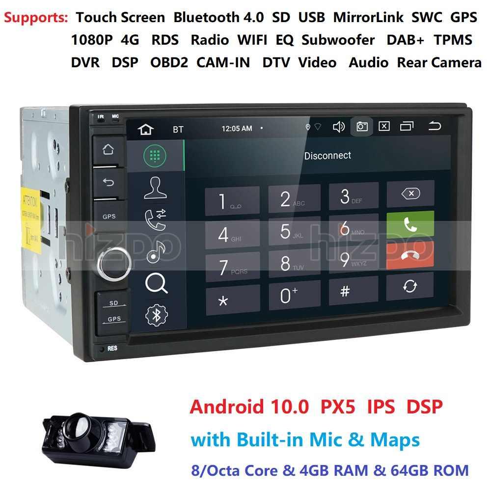7 ''Android 10 8OctaCore PX5 4 グラム 64GROM 車なし DVD ラジオ 2din ユニバーサル GPS ナビゲーションステレオオーディオ HD 1024*600 Wifi の Bluetooth