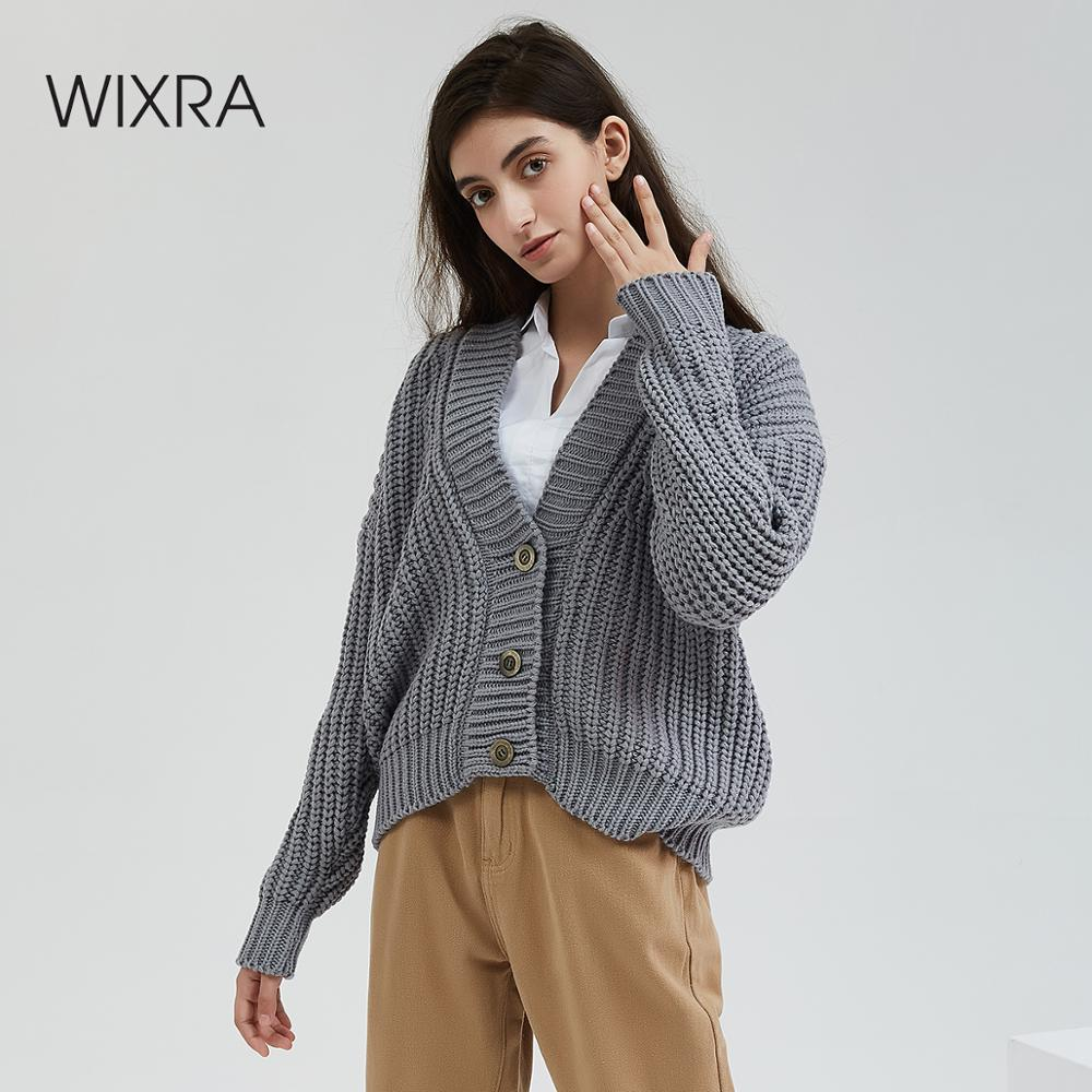 Wixra Knitted Chunky Cardigan Sweater Women Simple Solid Thick Button Clothing Sweater Stylish Tops For Female Autumn Winter