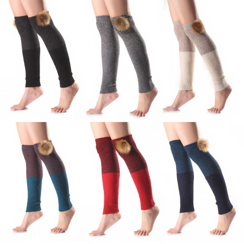 Women Girls Ribbed Knitted Over Knee Leg Warmer Crochet Color Block Thermal Long Boot Cover Socks With Detachable Pom Pom Ball