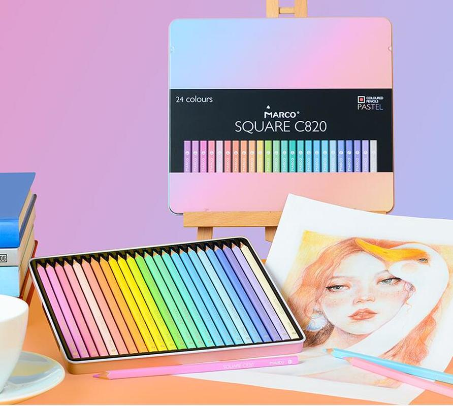 Marco 12/24 nouveau crayon de couleur Non toxique couleurs Pastel à la mode doux lapis de cor crayons de couleur pour fournitures scolaires enfants
