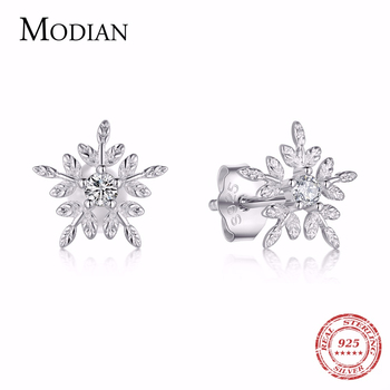 Modian Real 925 Sterling Silver White Snowflake Stud Earrings Cubic Zirconia Jewelry For Women Fashion Sterling Silver Earrings bisaer stud earrings real 925 sterling silver star shape long earrings for women clear cubic zirconia fashion jewelry hve154