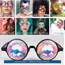 Bungee Bar Mosaic Kaleidoscope Round Glasses Electronic Music Festival Sunglasses Psychedelic Equipment Sunglasses