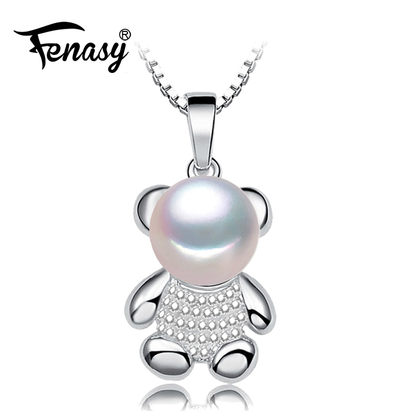FENASY 925 Sterling Silver Natural Pearl Necklace For Women Bohemian Bear Trendy Cubic Zirconia CZ Necklace Birthday Gift