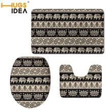Cubierta de asiento de inodoro estilo Fribal 3 piezas HUGSIDEA alfombras lavables de franela funda de inodoro esteras seguras para Baño