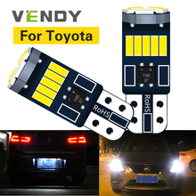 2pcs LED Light Bulb W5W T10 Car For Toyota avensis Corolla hilux auris FJ land cruiser 100 hilux chr camry prius yaris wish rav4 наклейки digiface toyota corolla hilux vitz rav4 camry prius 2 3 4
