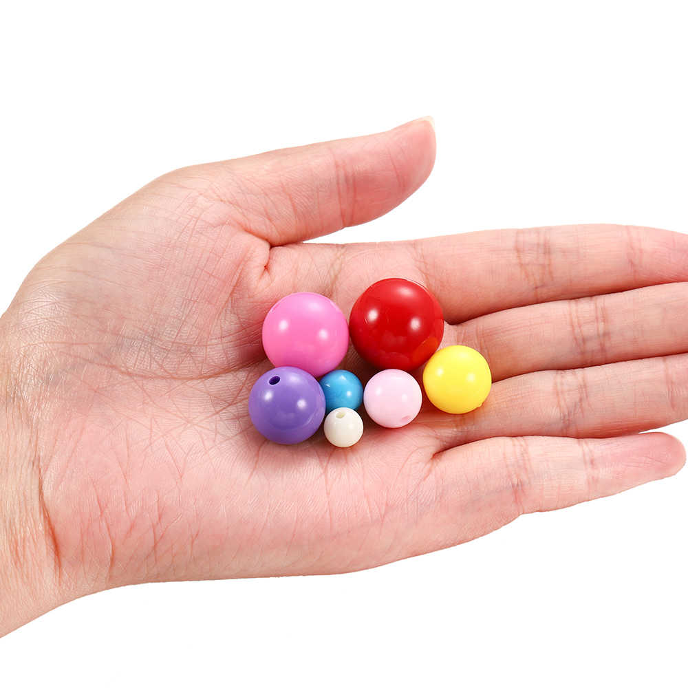 10-200 pces redondo misturado acrílico solto espaçador grânulos para diy jóias fazendo descobertas acessórios suprimentos crianças presente pulseira